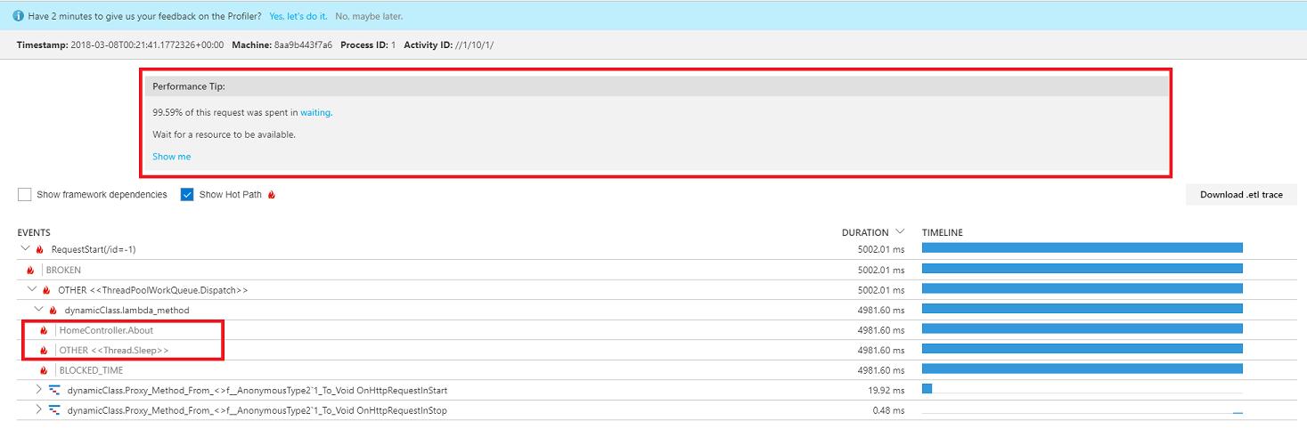 Profile ASP NET Core Azure Linux web apps with Application