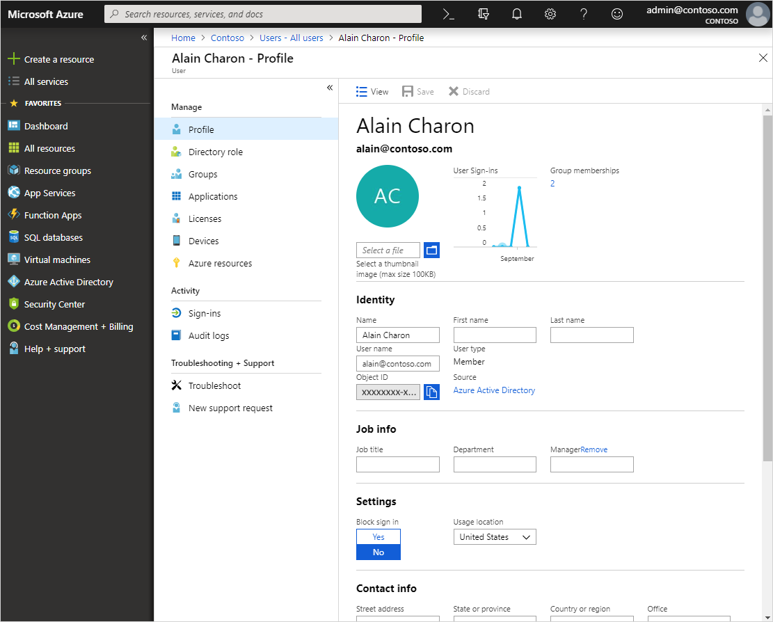 add or update a user s profile information azure active directory
