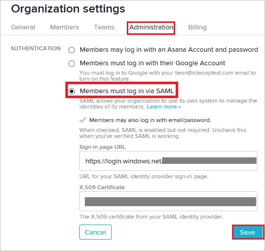 Tutorial: Azure Active Directory integration with Asana