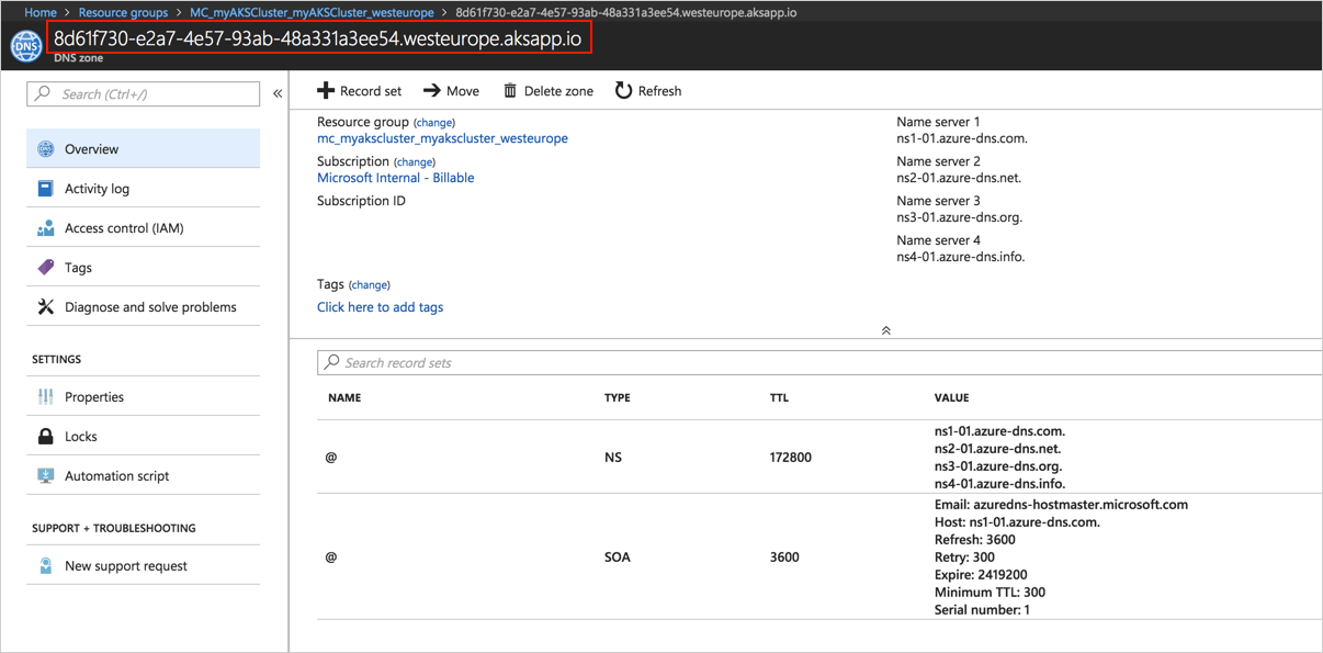 HTTP application routing add-on on Azure Kubernetes Service