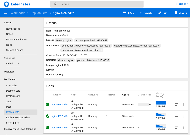 Manage an Azure Kubernetes Service cluster with the web dashboard