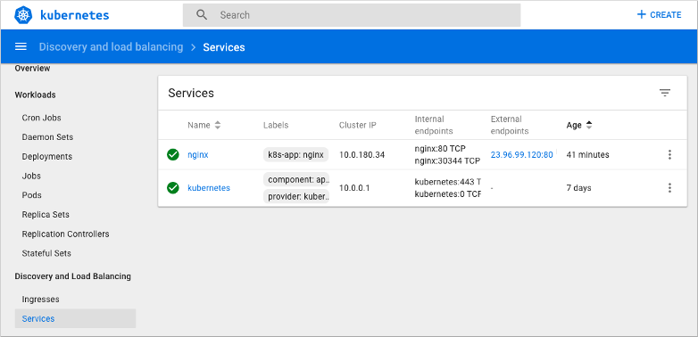 Manage an Azure Kubernetes Service cluster with the web