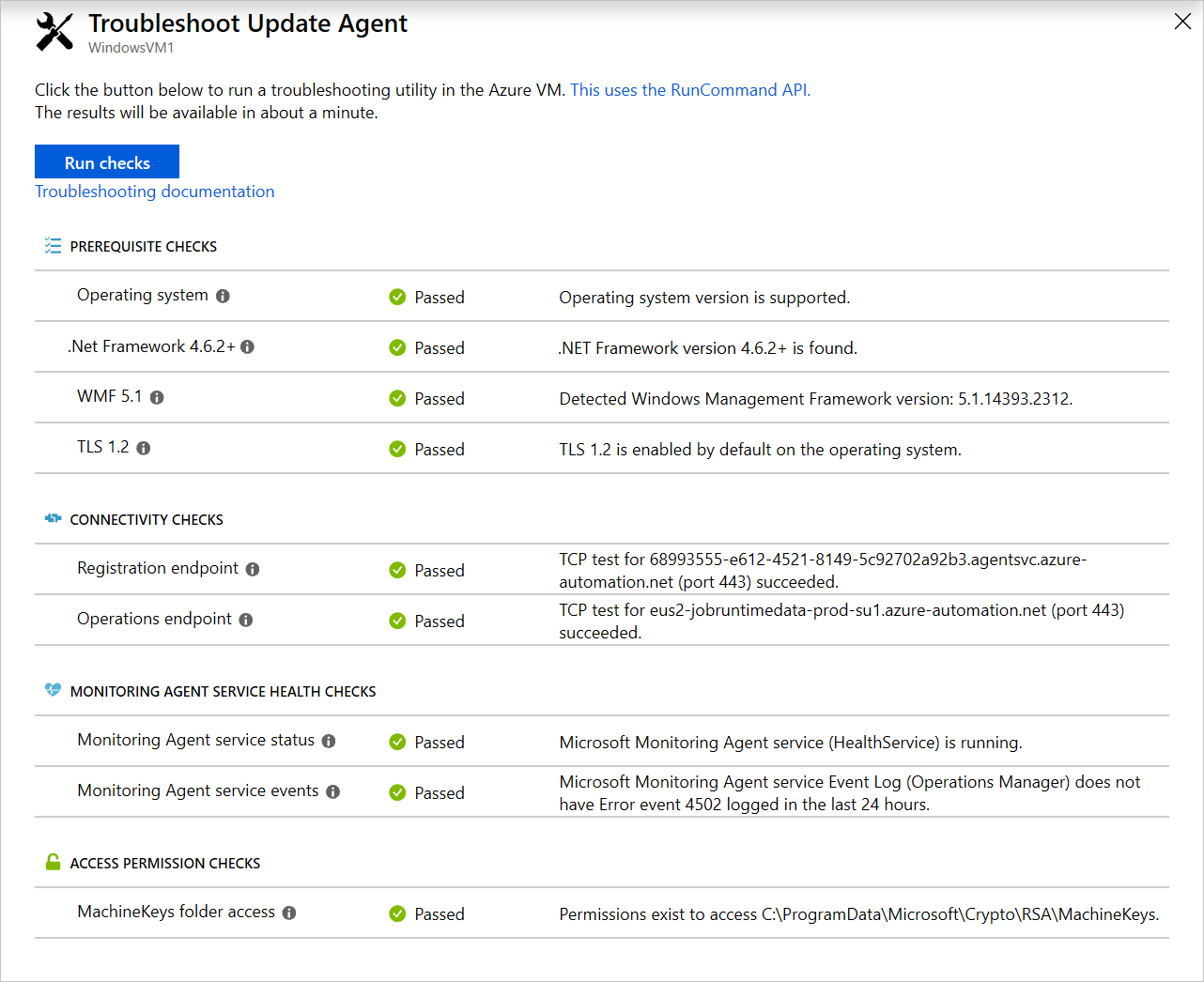Understand the Windows agent check results in Azure Update
