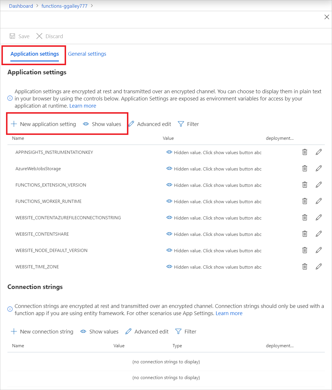Configure function app settings in Azure | Microsoft Docs