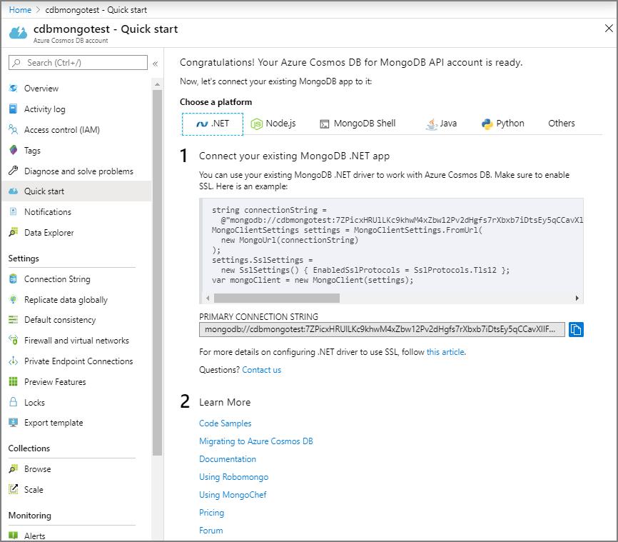 Connect a MongoDB application to Azure Cosmos DB | Microsoft Docs