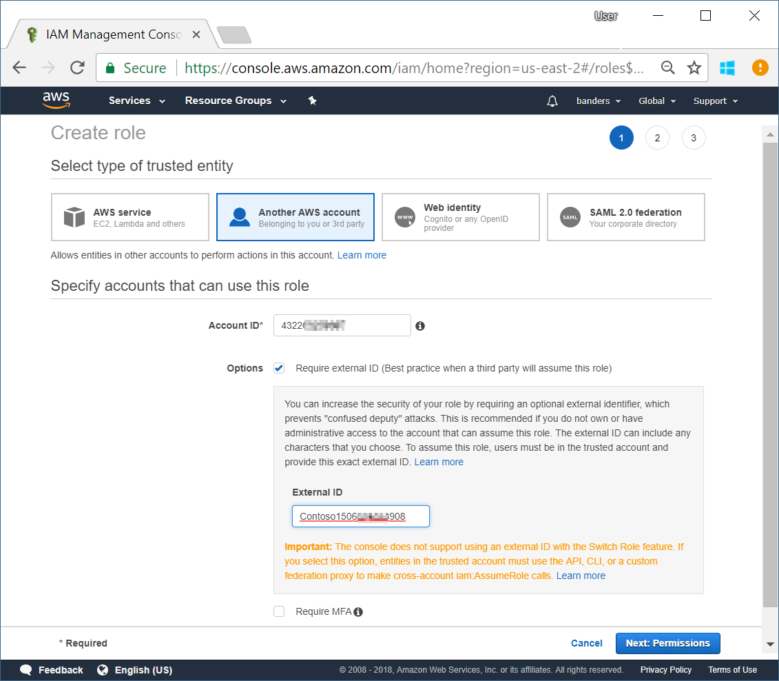 Connect an Amazon Web Services account to Cloudyn in Azure