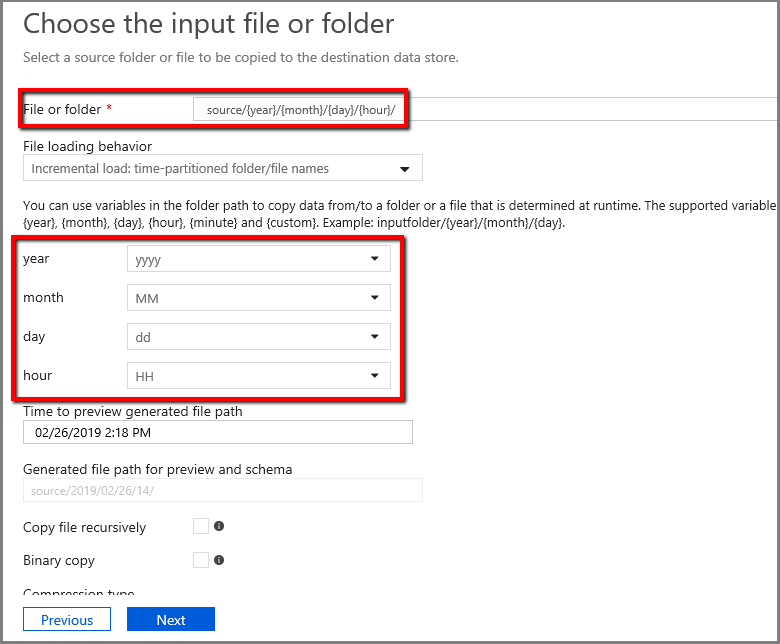 Using Azure Data Factory to incrementally copy new files