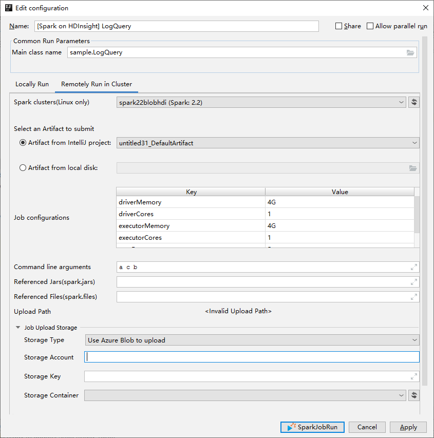 Azure Toolkit for IntelliJ: Create Spark applications for an
