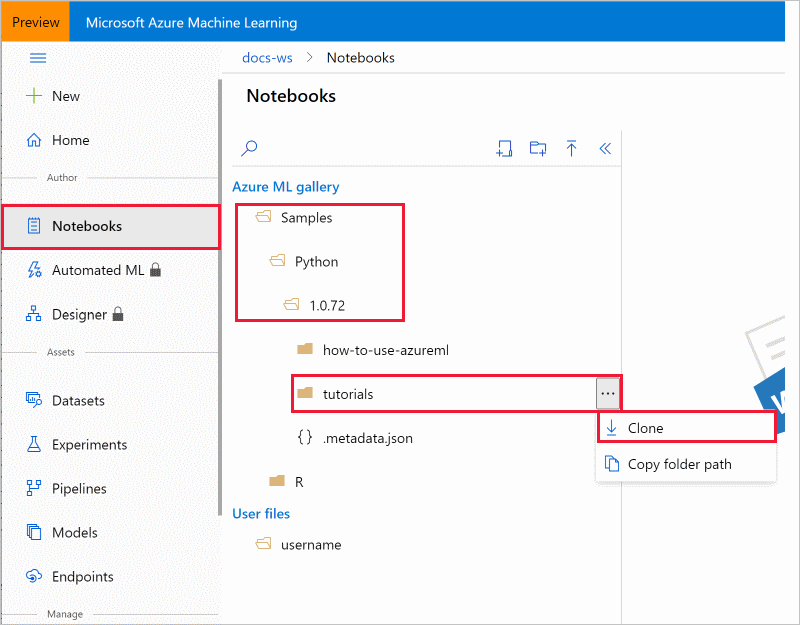 Tutorial: Create your first ML experiment: Setup - Azure