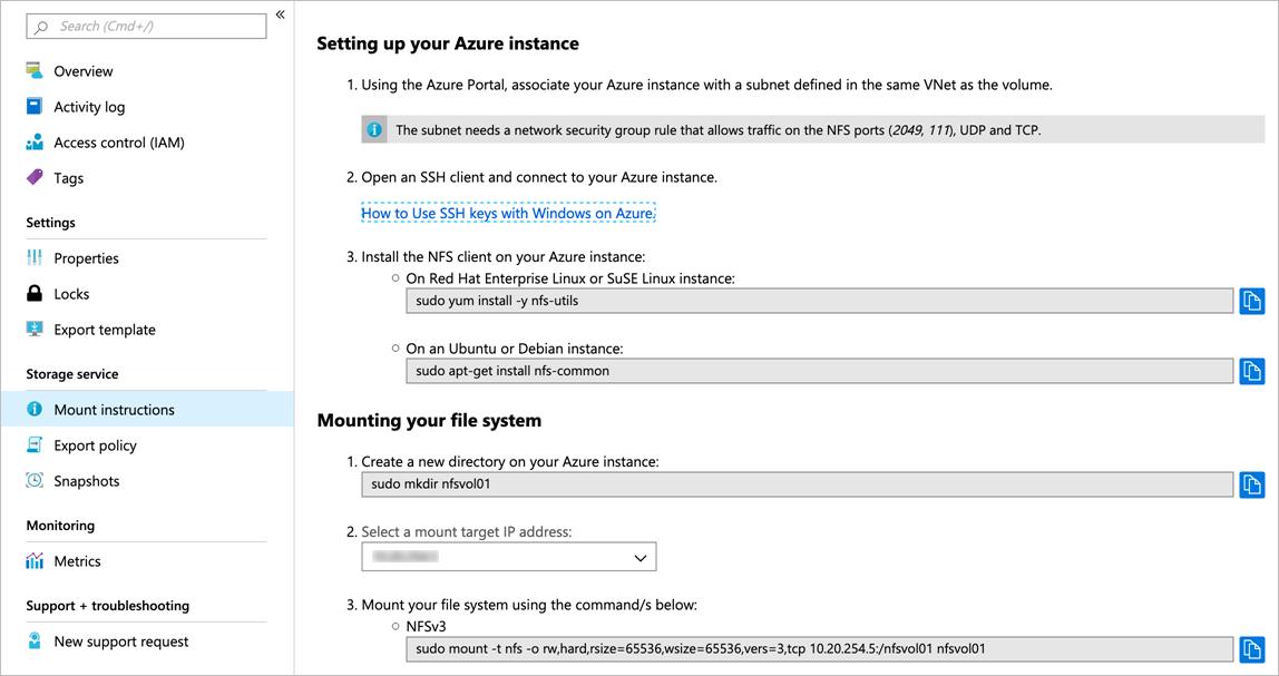 Mount or unmount an Azure NetApp Files volume for Windows or
