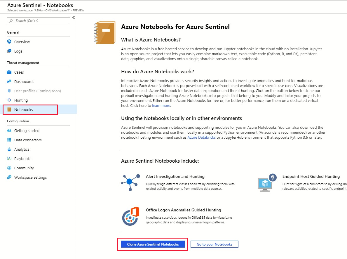 Hunting capabilities using notebooks in Azure Sentinel