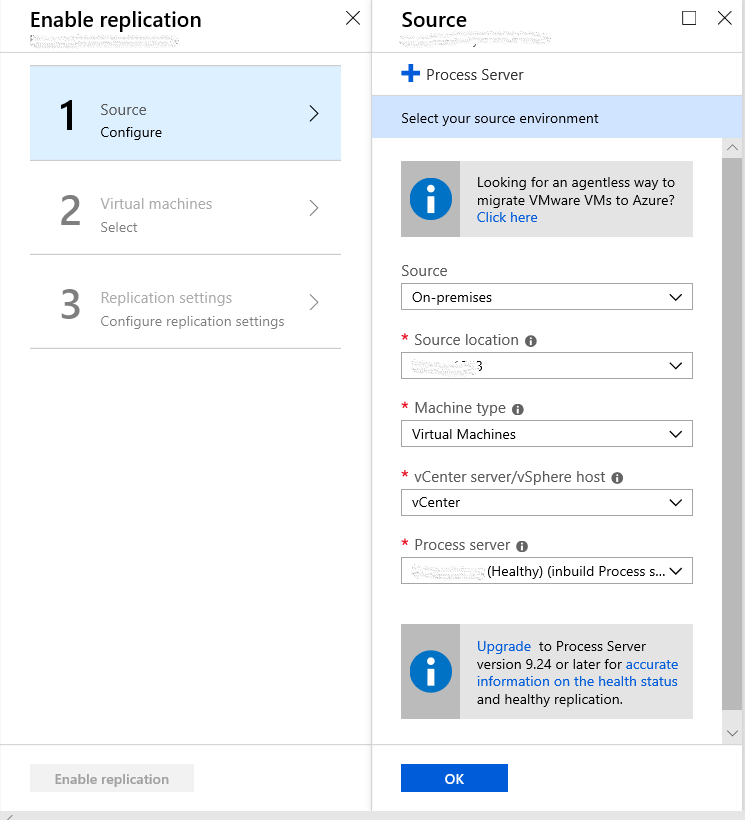 Enable replication of VMware VMs for disaster recovery to Azure with