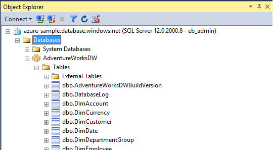Connect to Azure SQL Data Warehouse - SSMS | Microsoft Docs