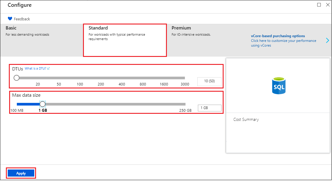 Create an Azure SQL database using the portal