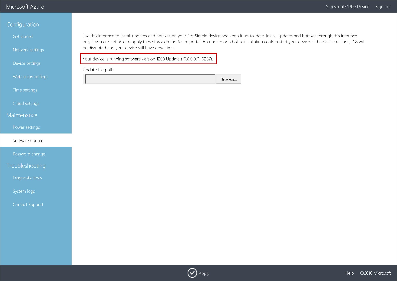 Install Updates on a Microsoft Azure StorSimple Virtual Array