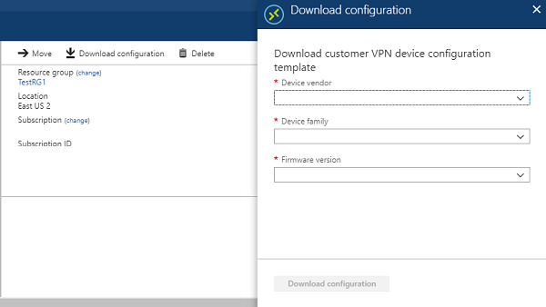 Download VPN device configuration scripts for S2S VPN connections