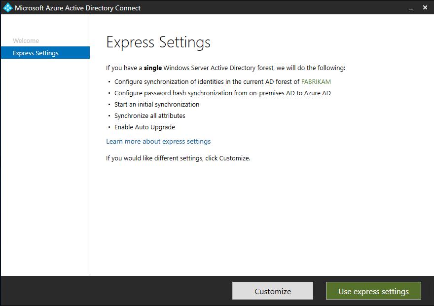 Azure AD Connect  Začínáme s použitím expresního nastavení ... 5813a1f309