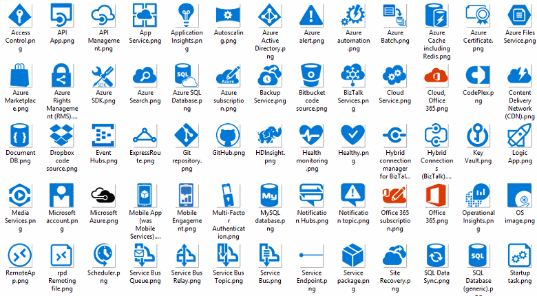 Icons and other assets for architectual diagrams microsoft docs cloud and enterprise symbolicon set malvernweather Gallery