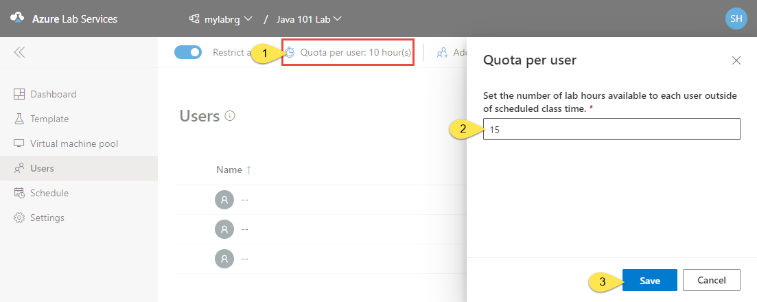 Configure usage settings in classroom labs of Azure Lab