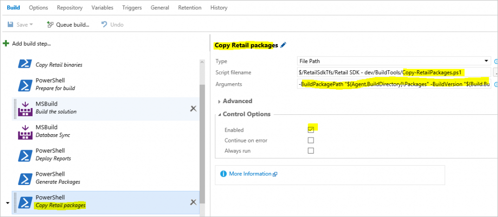 Adding a copy step for all Retail packages