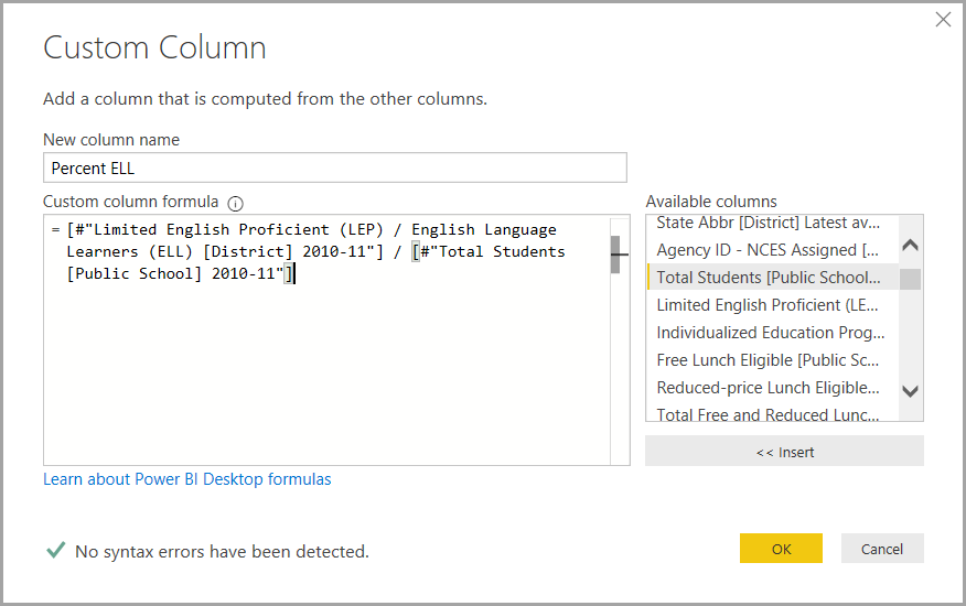 Dialogboksen Brugerdefineret kolonne, Power Query-editor, Power BI Desktop