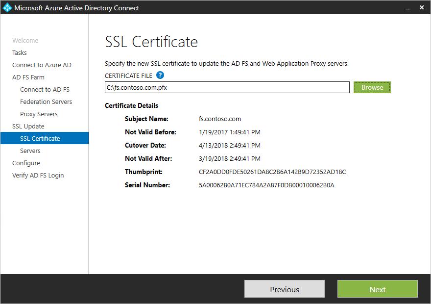 Azure AD Connect: Aktualisieren des SSL-Zertifikats für eine AD FS ...