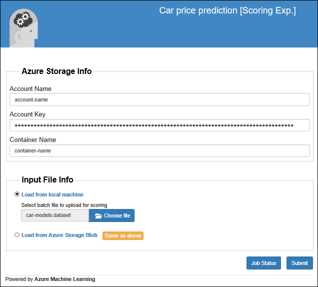 Verwenden Eines Machine Learning Webdiensts Mit Einer Web App