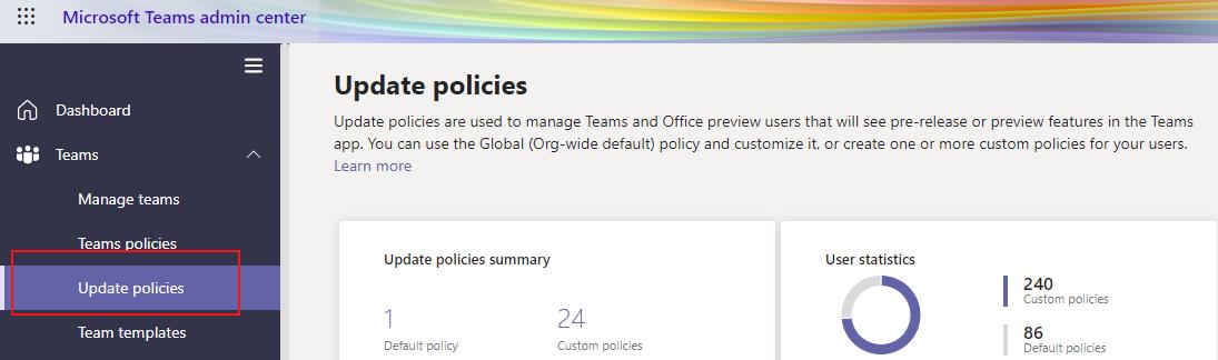 """Auswählen der Option """"Updaterichtlinien"""""""