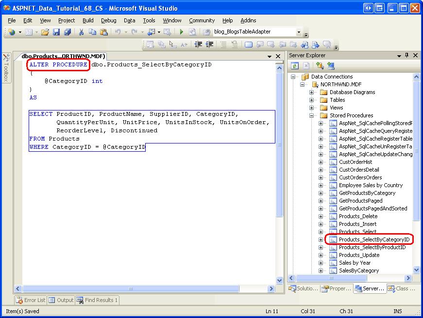 Verwenden von vorhandenen gespeicherten Prozeduren für TableAdapter ...