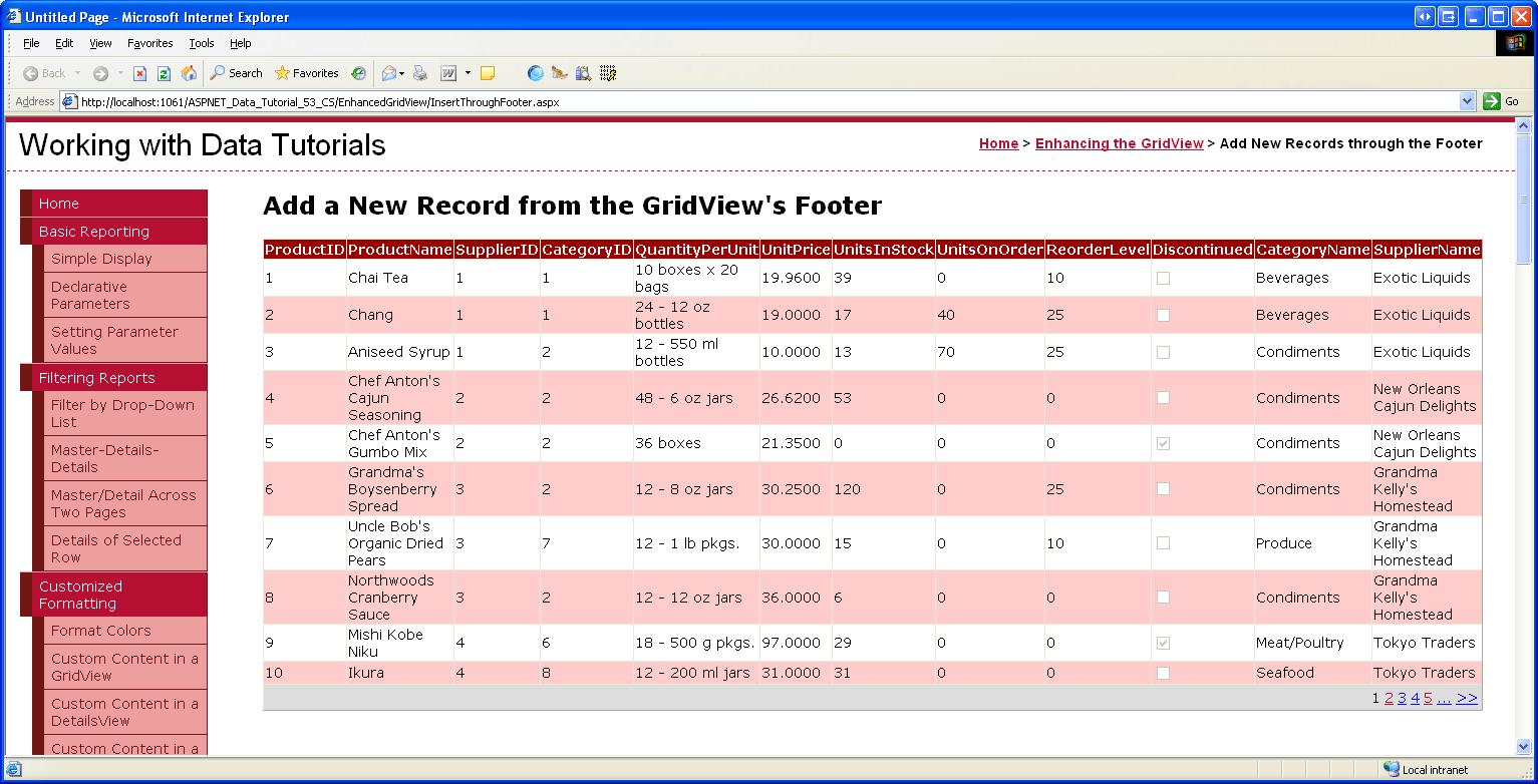 Einfügen eines neuen Datensatzes in den GridView Fuß (VB ...