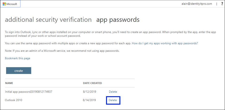 """Screenshot des Löschens eines App-Kennworts auf der Seite """"App-Kennwörter"""""""