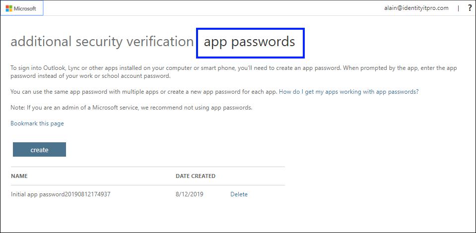 "Seite ""App-Kennwörter"" mit hervorgehobener Registerkarte ""App-Kennwörter"""