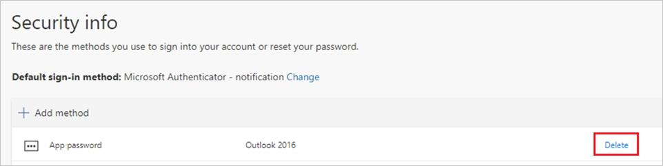 """Screenshot des Löschens eines App-Kennworts auf der Seite """"Sicherheitsinformationen"""""""
