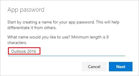 """Seite """"App-Kennwörter erstellen"""" mit dem Namen des App-Kennworts"""
