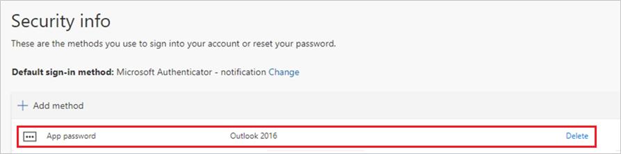 """Seite """"Sicherheitsinformationen"""" mit dem neuen App-Kennwort in der Liste"""