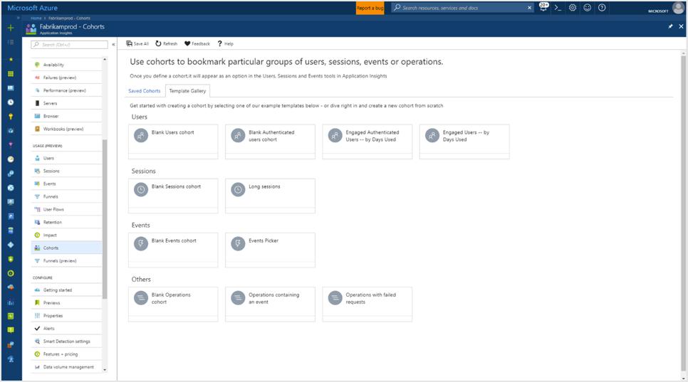 Azure Application Insights-Nutzungskohorten | Microsoft Docs