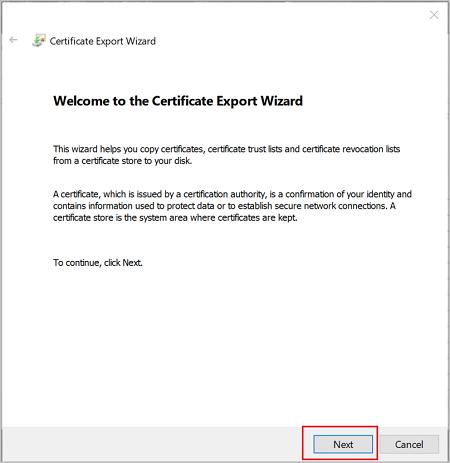 Exportieren des Zertifikats