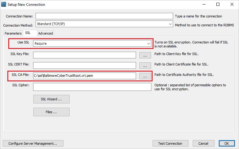 Konfigurieren von SSL-Verbindungen für eine sichere