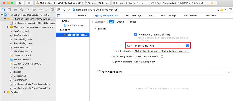 Senden von Pushbenachrichtigungen an iOS-Apps mit Azure Notification ...