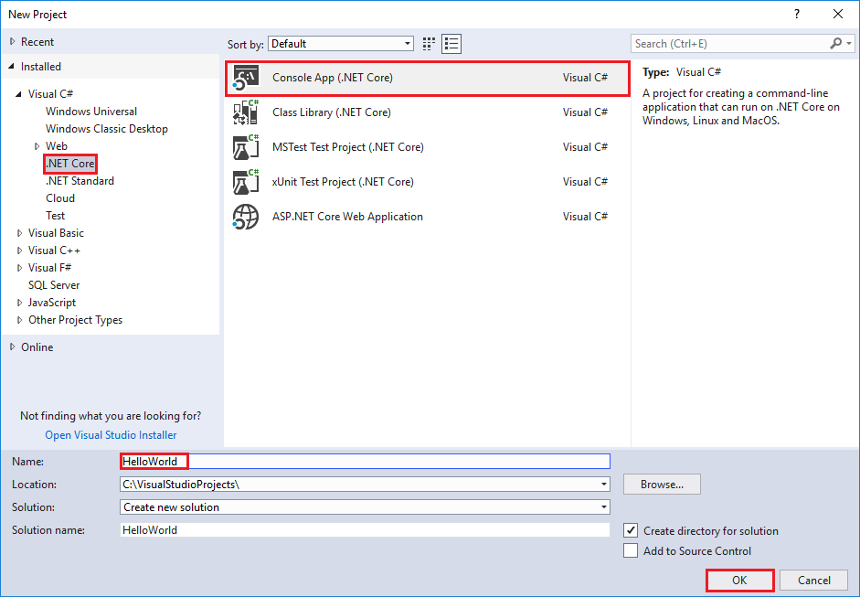 """Erstellen einer """"Hallo Welt""""-Anwendung mit .NET Core und C# in ..."""