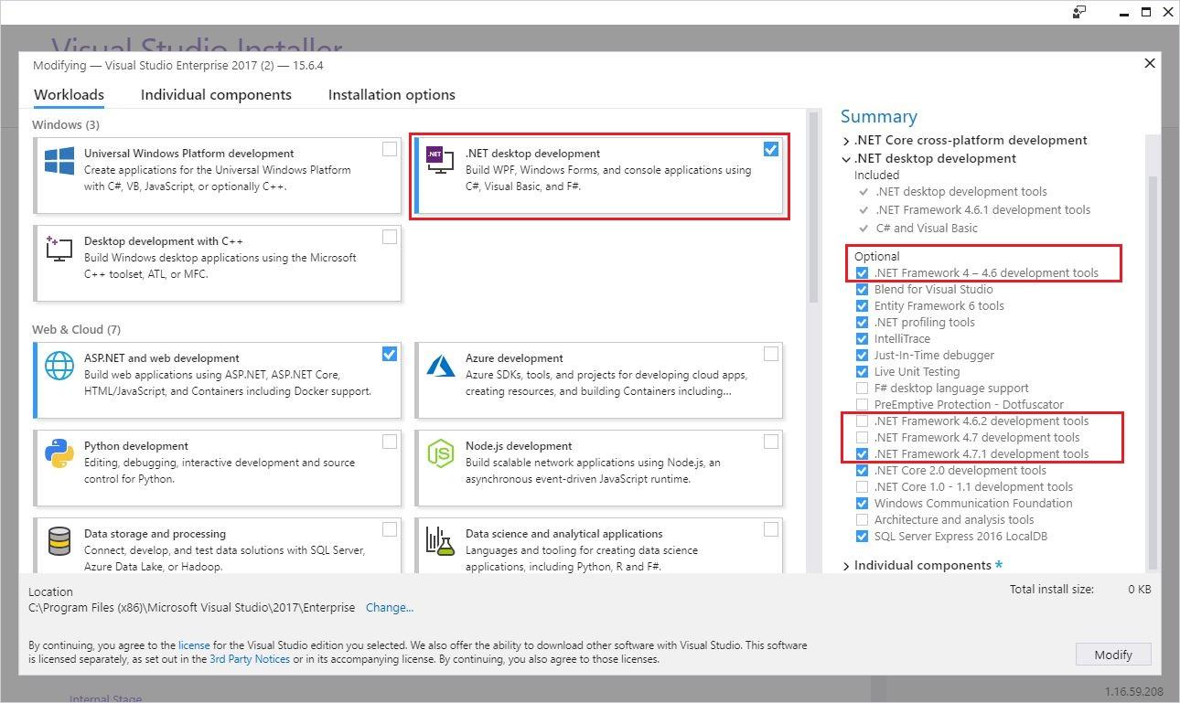 Installieren des  NET Framework Developer Packs oder des