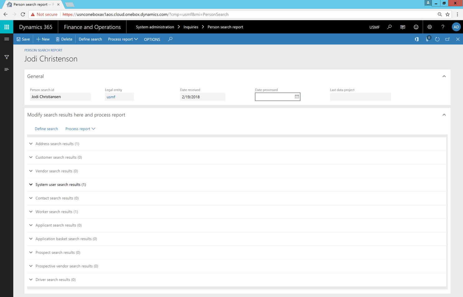 Person search report - Finance & Operations | Dynamics 365 ...