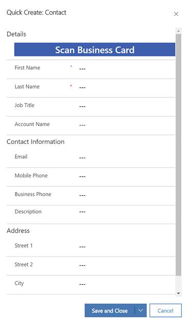 Scannen Sie Visitenkarten Dynamics 365 Sales Microsoft Docs
