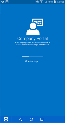 The Company Portal app for Android sign in screen that shows a partially filled loading bar with the phrase 'Connecting' underneath it.