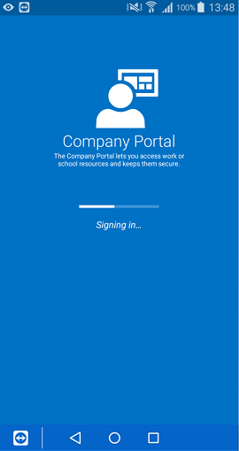The Company Portal app for Android sign in screen that shows a partially filled loading bar with the phrase 'Signing in' underneath it.