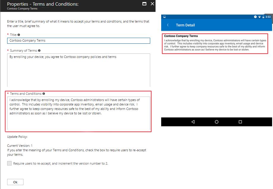 Festlegen von Nutzungsbedingungen in Microsoft Intune | Microsoft Docs