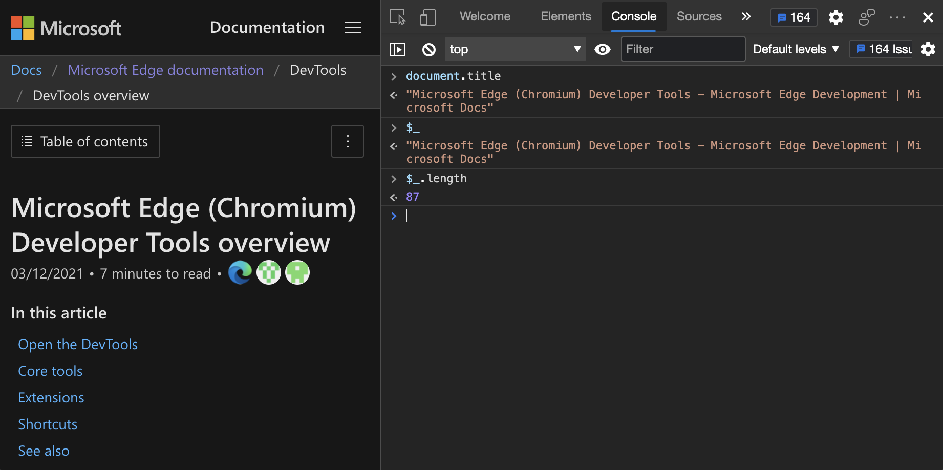Die Konsole als JavaScript Umgebung   Microsoft Edge Development ...