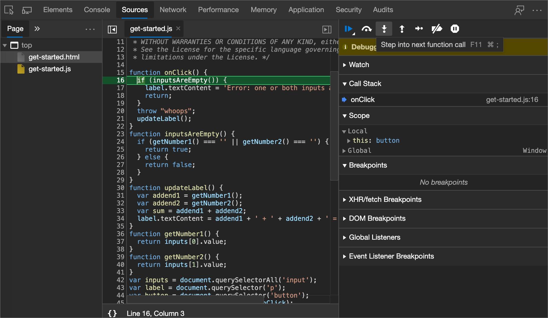 Verwenden der Debuggerfeatures   Microsoft Edge Development ...