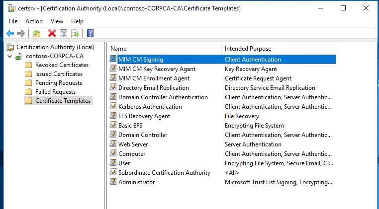 Bereitstellen der Microsoft Identity Manager-Zertifikatverwaltung ...