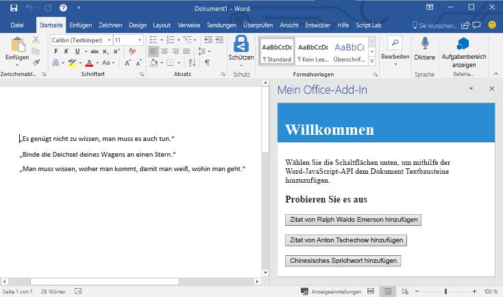 Erstellen Ihres ersten Word-Add-Ins | Microsoft Docs